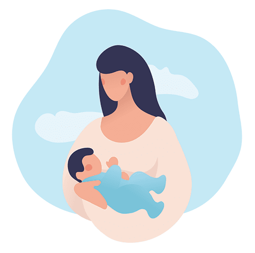 Animation of a mom and baby
